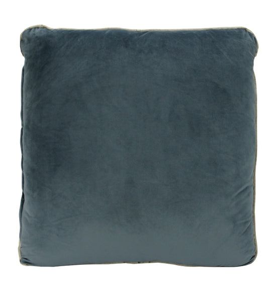 Piped Velvet Cushion | Steel Blue & Gold