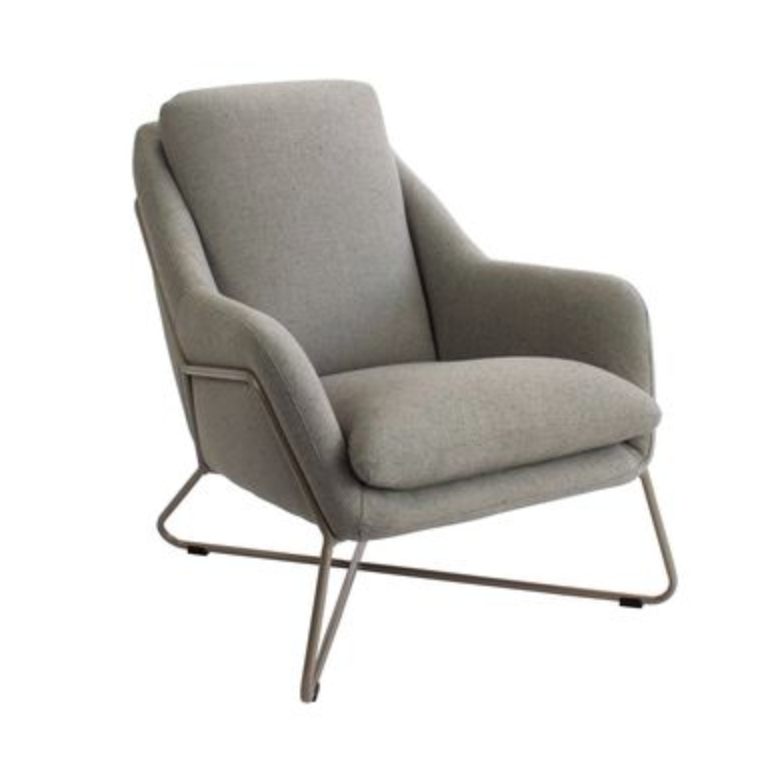 Mona Armchair - Grey Fabric | Champagne Frame
