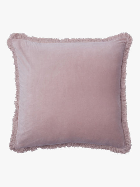 Velvet Fringe Cushion | Blush