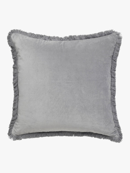 Velvet Fringe Cushion | Smoke