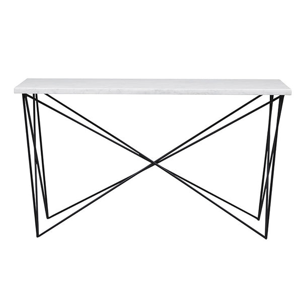 Elle Criss Cross Console | Matt White/Black
