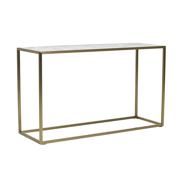 Elle Cube Marble Console | White/Brushed Gold
