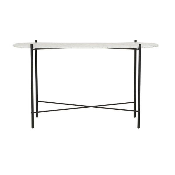 Elle Pipe Oval Console | Matt White/Black