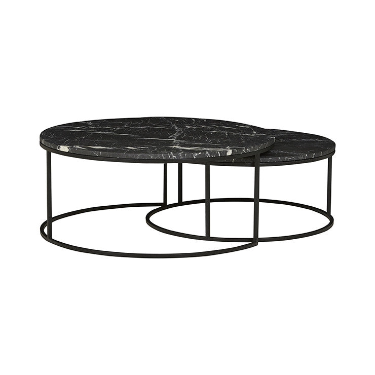 Elle Round Marble Nest | Coffee Table | Black/Matt Black