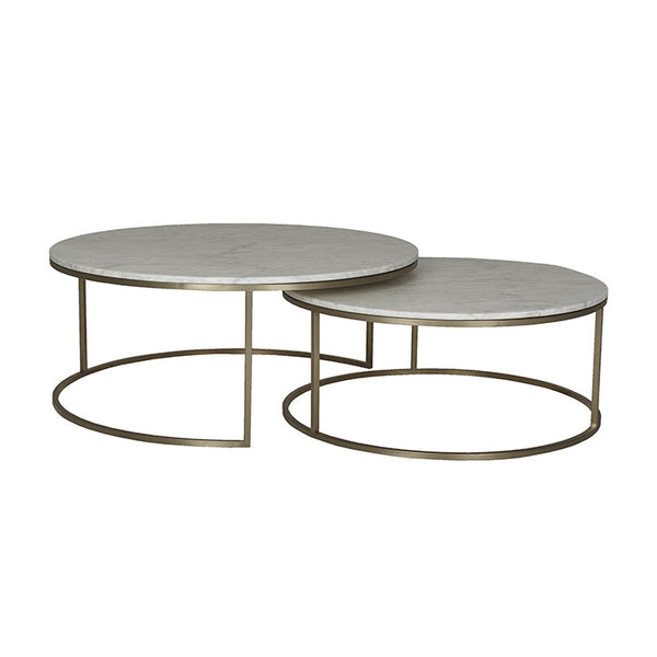 Elle Round Marble Nest | Coffee Table | White/Brushed Gold
