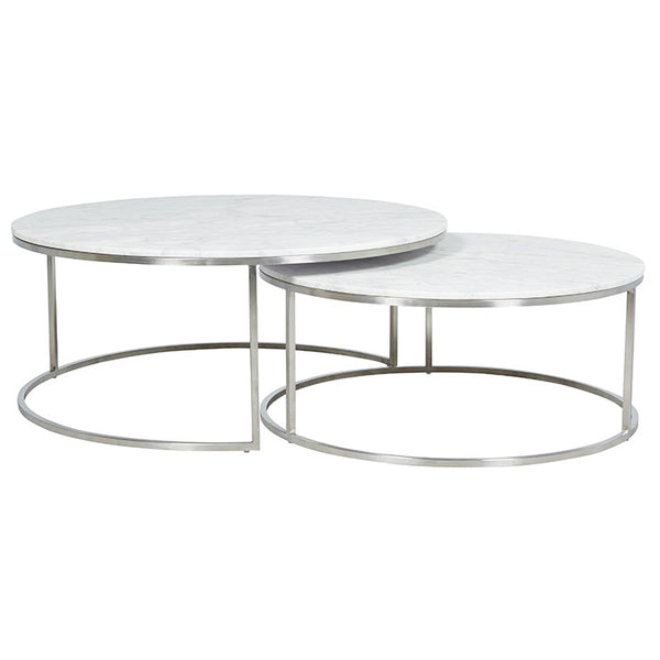 Elle Round Marble Nest | Coffee Table | White/Stainless Steel
