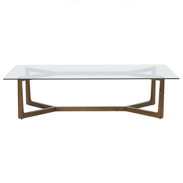 Geo Glass Coffee Table | Natural Teak