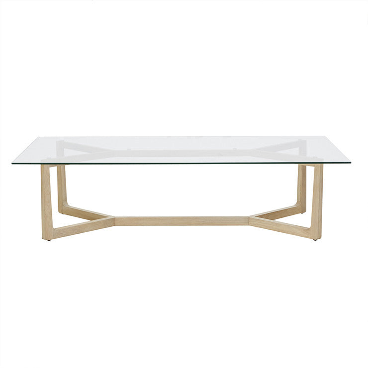 Geo Glass Coffee Table | Natural Oak