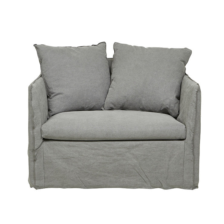 Vittoria Slip Cover | Sofa Chair | Washed Smoke