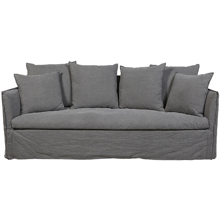 Vittoria Slip Cover | Three Seater Sofa | Washed Smoke
