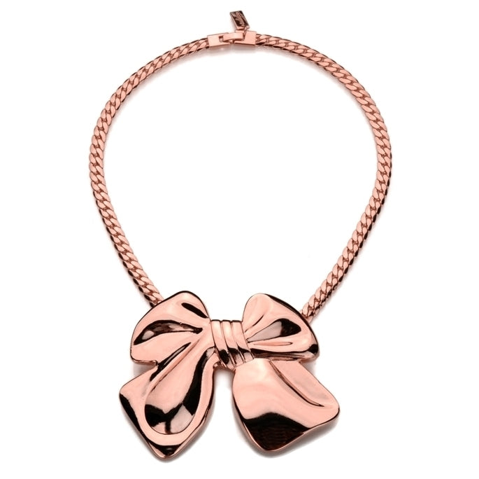 Amplified Solid Bow Necklace, Rose Gold
