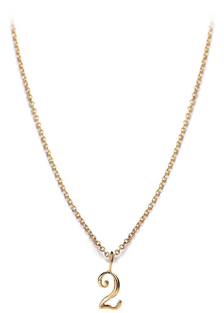 14kt Gold Number Necklace, Assorted Numbers 0-9