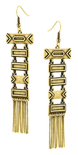 Antiqued Gold Totem Pole Earrings