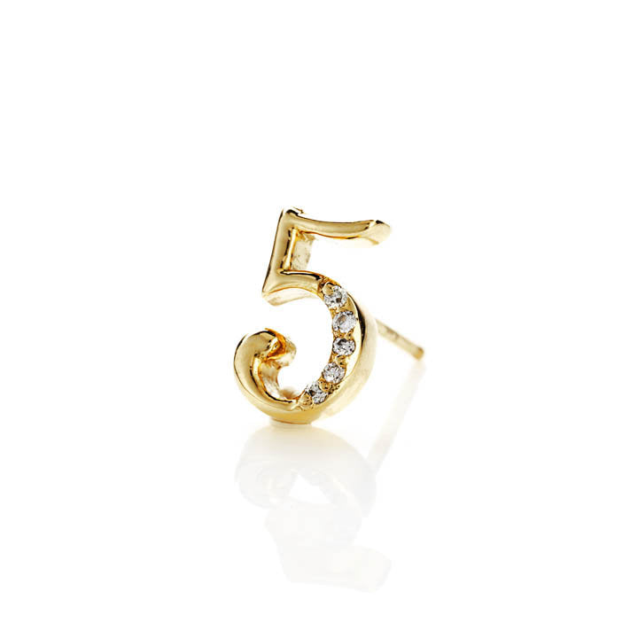 18k Gold Stud Diamond Earring, Assorted Numbers 5-9