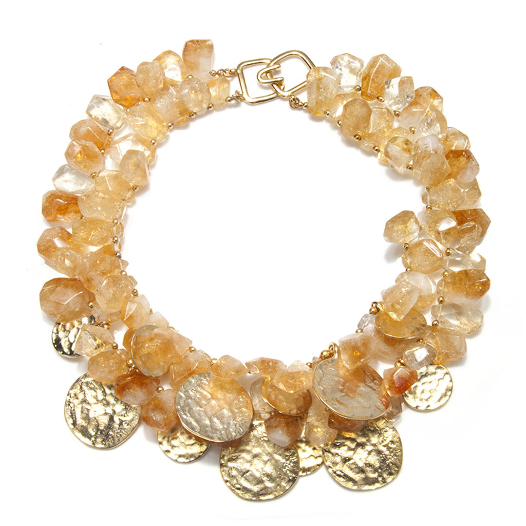 Citrine Gold Coin Necklace