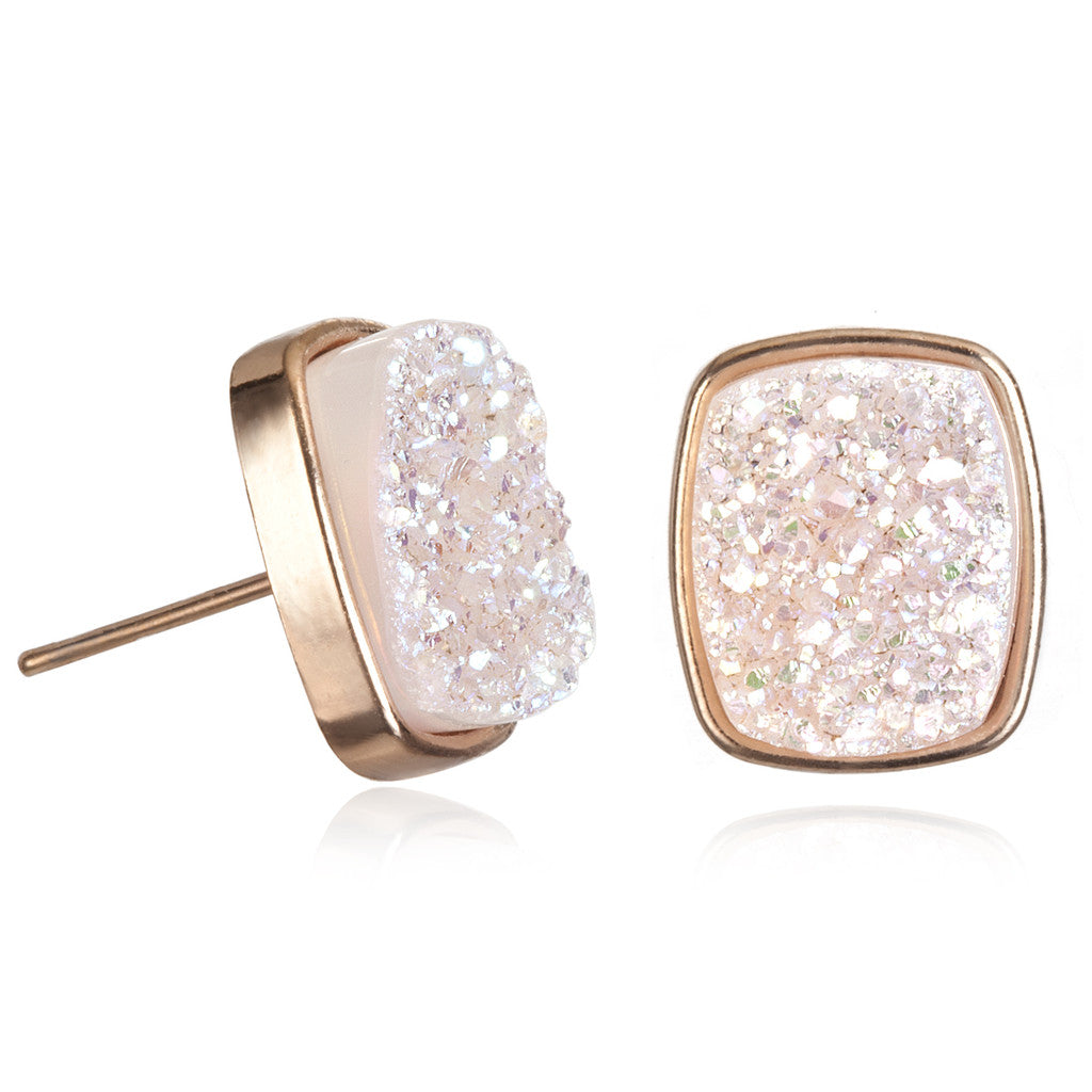 Alicia Halo Druzy Rectangle Studs, Rose Gold