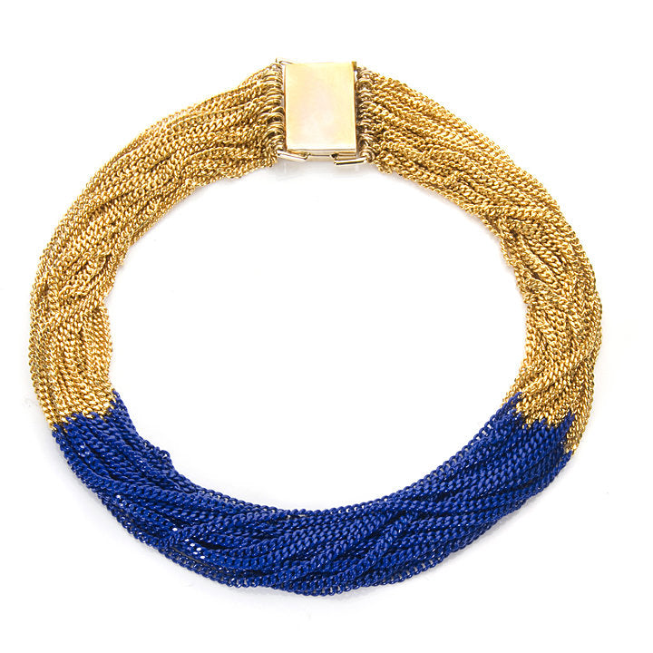22-Strand Blue and Gold Necklace