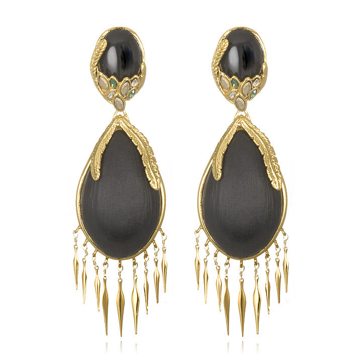 Alexandria Gold Large Feather Earrings, Black