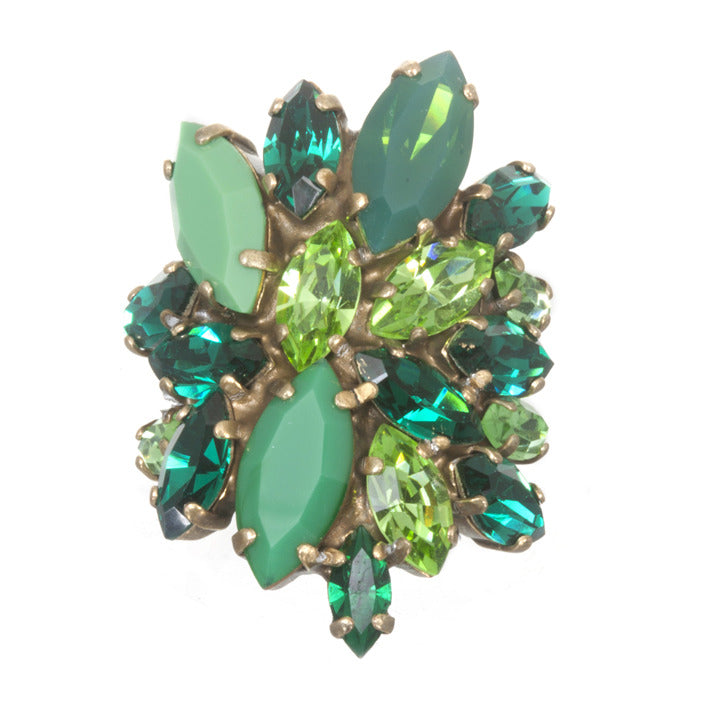 Marquise Cluster Ring, Green