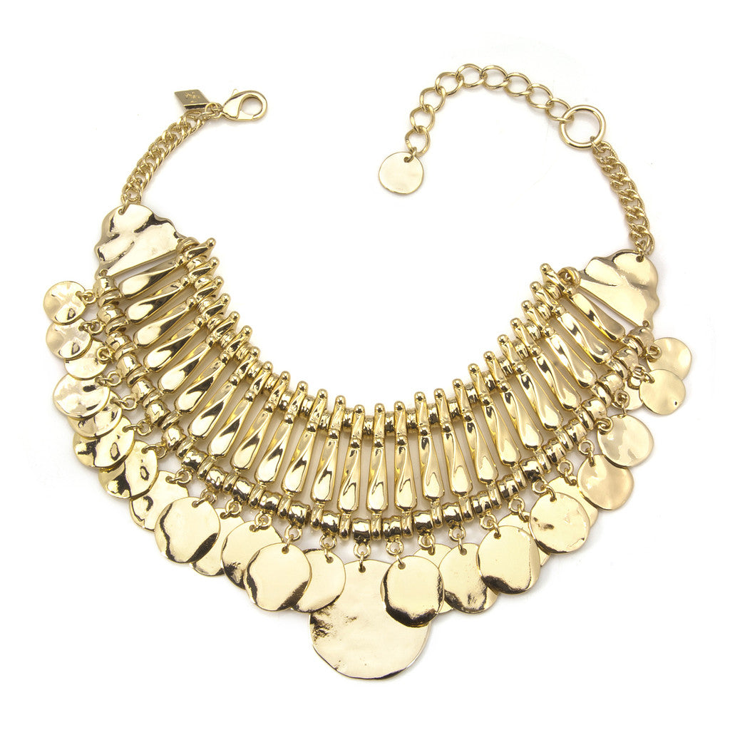 Gold Coin Bib Necklace
