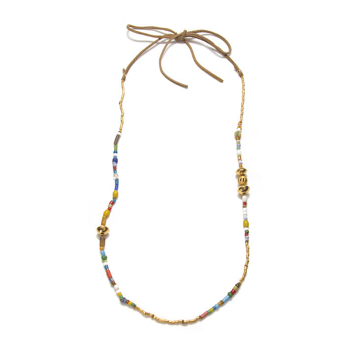 African Beaded Leather Necklace