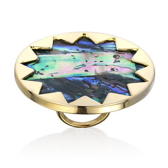 Abalone and Gold Sunburst Cocktail Ring