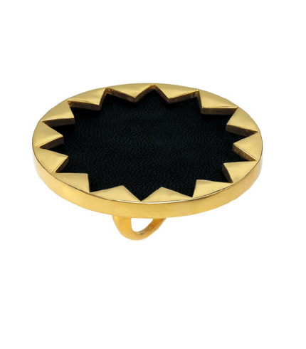 Black Leather and Gold Sunburst Cocktail Ring