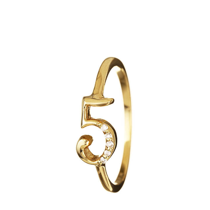 Gold Number Rings with Diamonds, Assorted Numbers 5-9