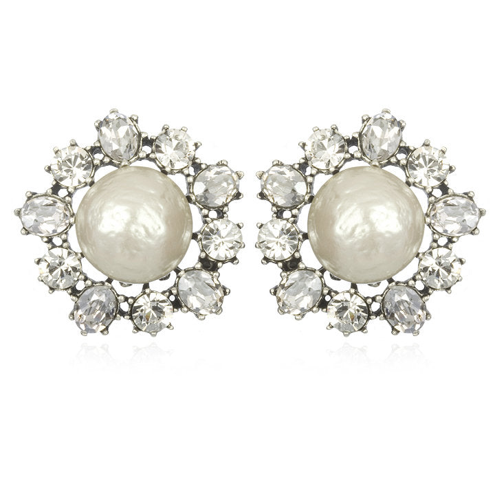Pearl and Crystal Clip-Ons