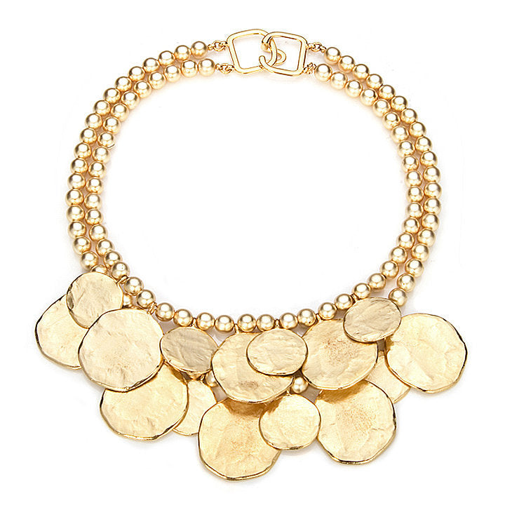 2 Row Satin Gold Coin Necklace