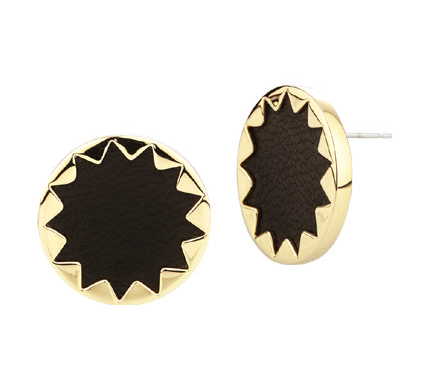 Black Leather and Gold Sunburst Earrings