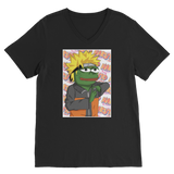 Black Anime PEPE MEME Naruto V-Neck T-Shirt