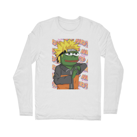 White Anime PEPE MEME Naruto Long Sleeve T-Shirt