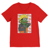 Red Anime PEPE MEME Naruto V-Neck T-Shirt