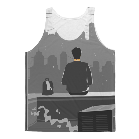 Thinking Man on New York City Rooftop Tank Top