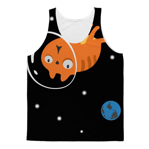 Surprised Space Astronaut Kitty Cat Tank Top