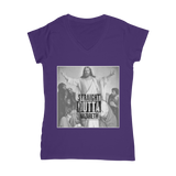 Purple Straight Outta Nazareth Parody Christian Jesus V-Neck T-Shirt