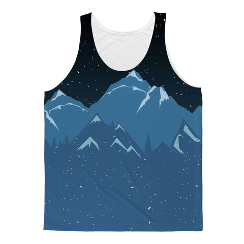Starry Night Sky & Mountains Nature Tank Top