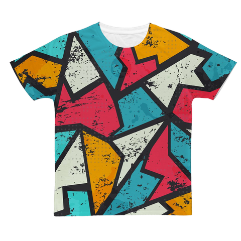 Grunge Abstract Triangles Rave T-Shirt
