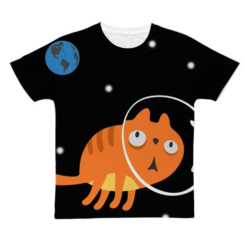 Surprised Space Astronaut Kitty Cat T-Shirt