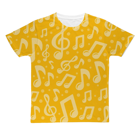 Yellow Music Notes T-Shirt