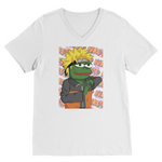 White Anime PEPE MEME Naruto V-Neck T-Shirt