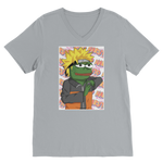 Light Grey Anime PEPE MEME Naruto V-Neck T-Shirt
