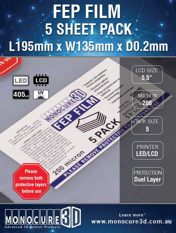 FEP Film 200 Micron (5 Sheet Pack) - CC DIY