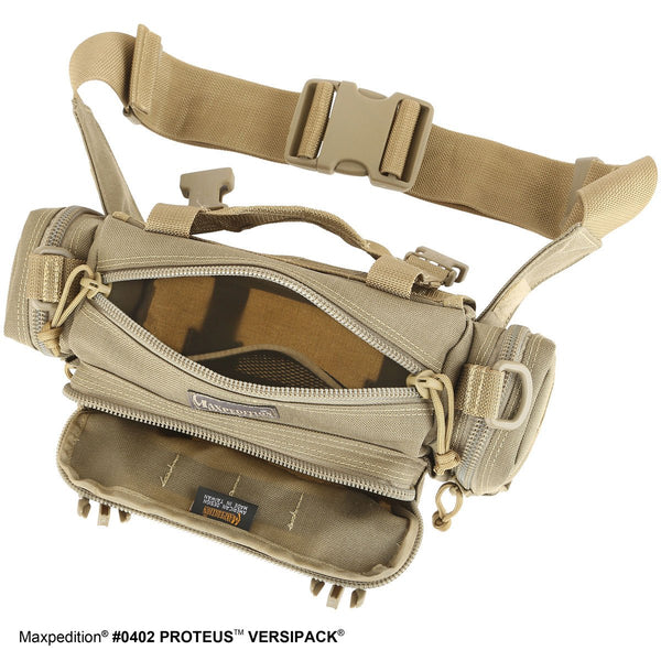 Proteus VERSIPACK - MAXPEDITION, Shoulder bag, left-side carry, CCW, EDC, Everyday Carry, Travel, Carry-on, Tourist, Adventurer, Camping, Hiking, Outdoors, concealed carry