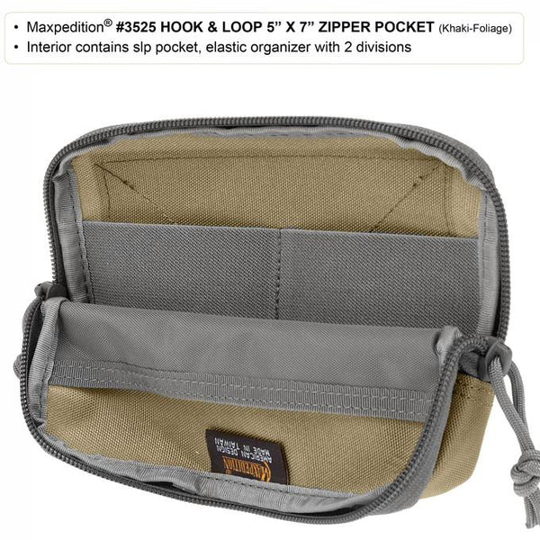 "HOOK & LOOP 5"" x 7"" ZIPPER POCKET - MAXPEDITION, Military, CCW, EDC, Tactical, Everyday Carry, Outdoors, Nature, Hiking, Camping, Police Officer, EMT, Firefighter, Bushcraft, Gear."