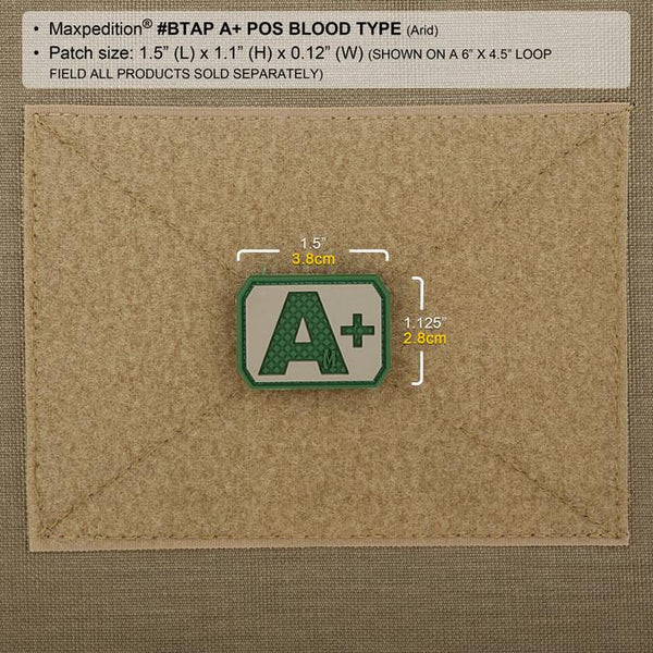 A+ BLOOD TYPE PATCH - MAXPEDITION, Patches, Military, CCW, EDC, Tactical, Everyday Carry, Outdoors, Nature, Hiking, Camping, Bushcraft, Gear, Police Gear, Law Enforcement