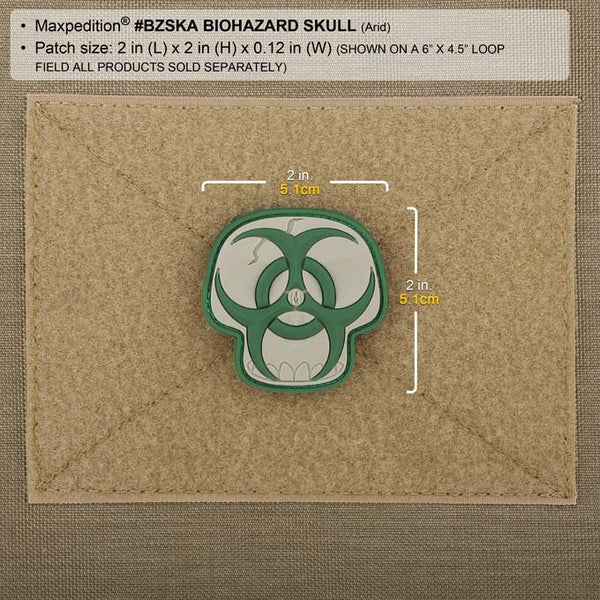 BIOHAZARD SKULL PATCH - MAXPEDITION, Patches, Military, CCW, EDC, Tactical, Everyday Carry, Outdoors, Nature, Hiking, Camping, Bushcraft, Gear, Police Gear, Law Enforcement