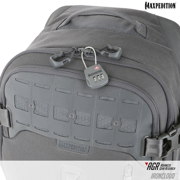 Maxpedition's Adventure Travel Bag main compartment is lockable and has an internal compression bib inside for securing contents during travel.