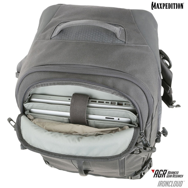 "Maxpedition's Ironcloud has a padded compartment dedicated for a 15"" laptop or tablet on the exterior of the pack, making it easy for the user to access while on-the-go."